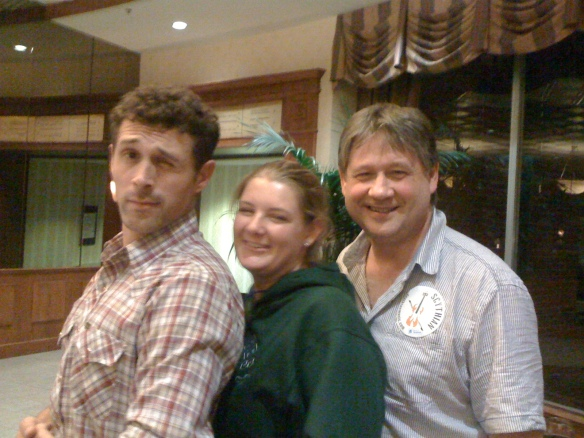 One of the lads from Scythian with Caitlin Ward and Basil McCrea.
